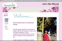 Mitzvah cash registry website